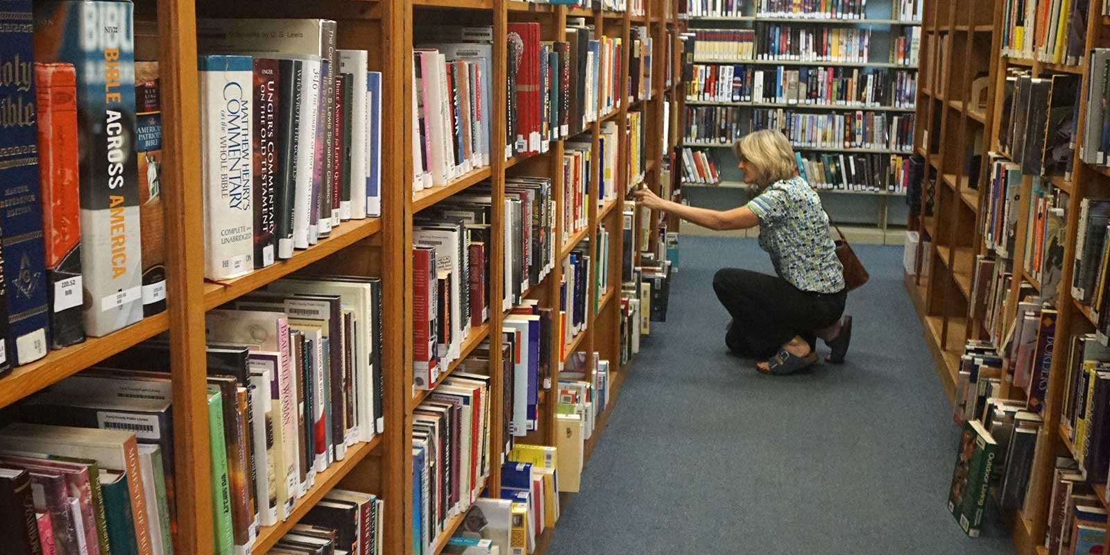 A woman looking in a library