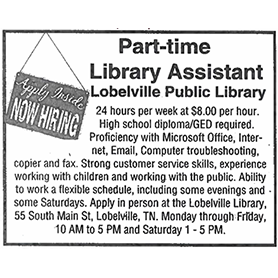 Part-Time Library Assistant